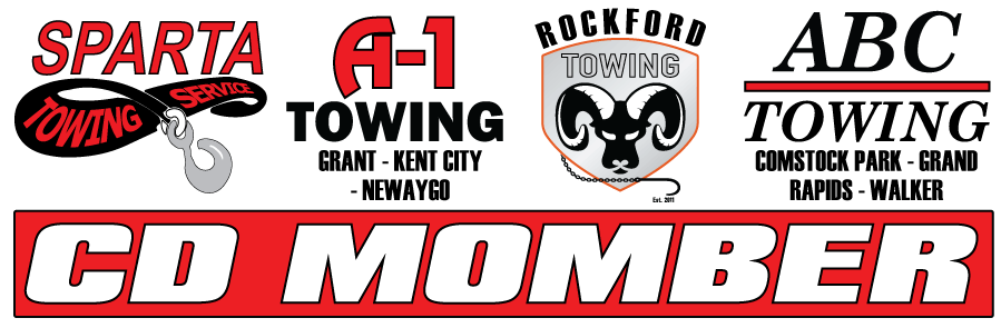 A1 Towing (CD Momber) owned companies: logos for A-1 Towing & Recovery - Grant MI, A-1 Towing & Recovery - Newaygo MI, ABC Towing - Comstock Park MI, Rockford Towing, and Sparta Towing & Recovery